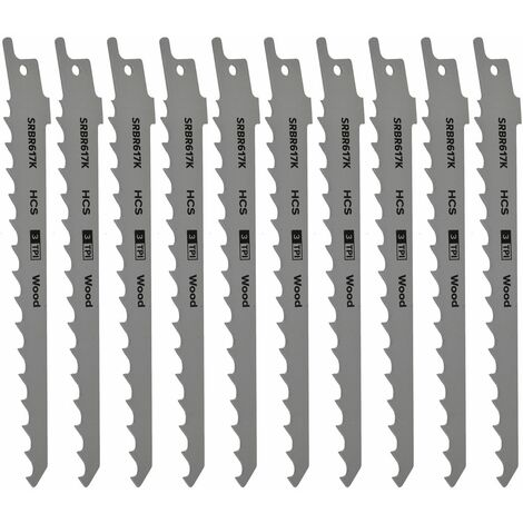 Reciprocating Saw Blade Pruning & Coarse Wood 3tpi 150mm Length Pack of 10