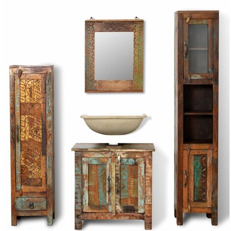"""main image of """"Reclaimed Solid Wood Vanity Cabinet Set with Mirror & 2 Side Cabinets"""""""