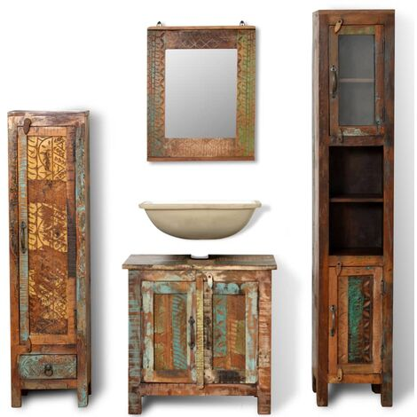 """main image of """"Reclaimed Solid Wood Vanity Cabinet Set with Mirror & 2 Side Cabinets - Multicolour"""""""
