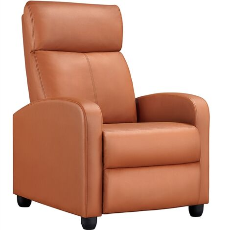 Recliner Arm chair Single Padded Seat PU Leather Sofa Lounge Home Living Room Theater Seating