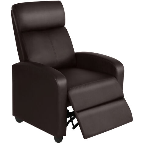 Recliner Arm chair Single Padded Seat PU Leather Sofa Lounge Home Living Room Theater Seating brown