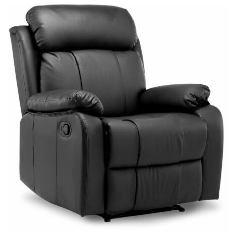 Recliner Armchair Leather Padded Ergonomic Comfort Manual Reclining Chair(Black)