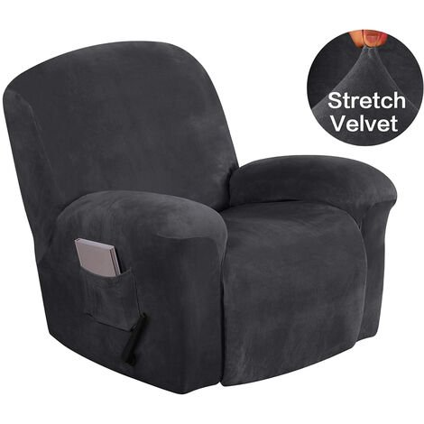 Recliner Chair Covers with Side Pocket Velvet Plush Fabric Couch Cover darkgrey