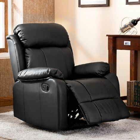Recliner Chair Leather Sofa Black
