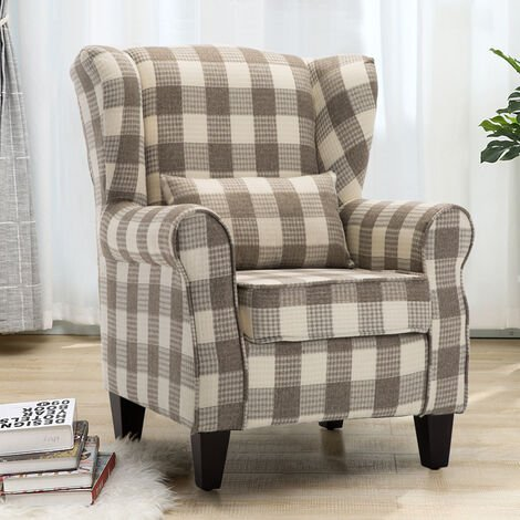 Recliner Chair Linen Fabric Wing Back Armchair Vintage Style Plaid-Coffee