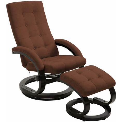 Recliner Chair with Footrest Brown Suede-touch Fabric