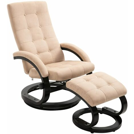 Recliner Chair with Footrest Cream Suede-touch Fabric