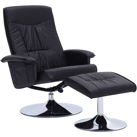 Recliner Chair with Footstool Black Faux Leather