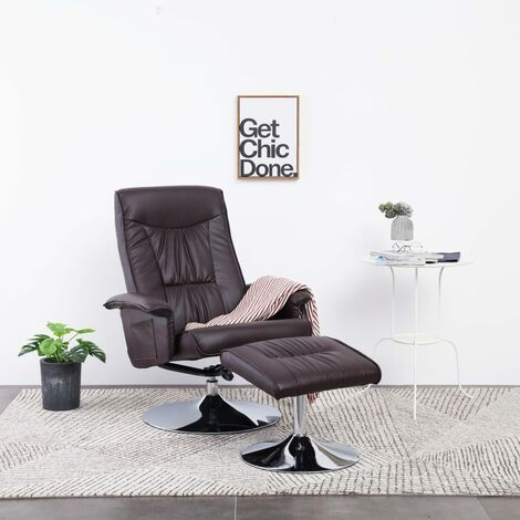 Recliner Chair with Footstool Brown Faux Leather
