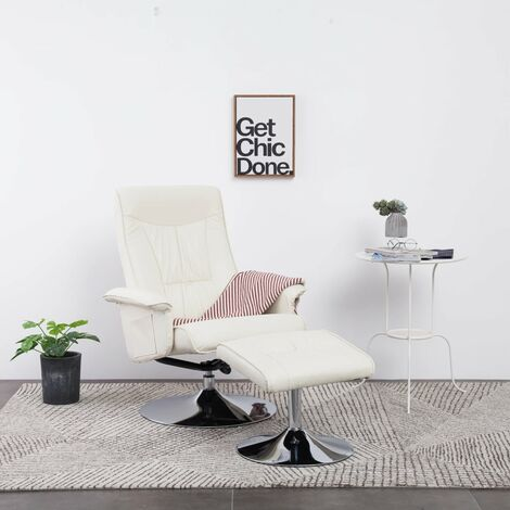 Recliner Chair with Footstool Cream Faux Leather