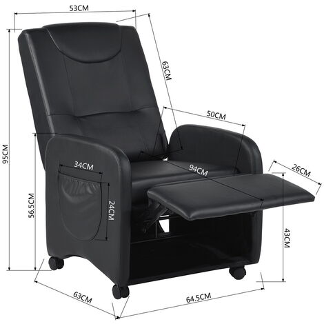 Recliner lift chair relaxation chair with adjustable black leatherette footrest
