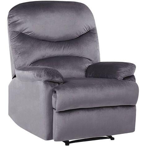 Reclining Chair Manual Adjustable Back Footrest Velvet Upholstery Grey Eslov