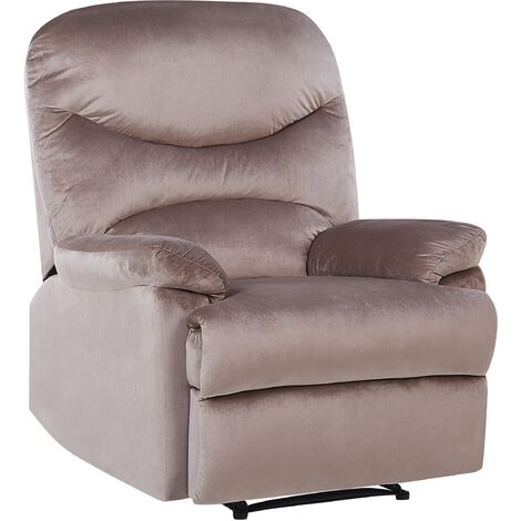 Reclining Chair Manual Adjustable Back Footrest Velvet Upholstery Taupe Eslov