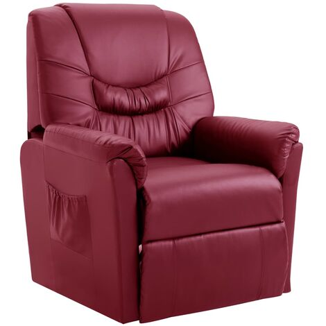 Reclining Chair Wine Red Faux Leather