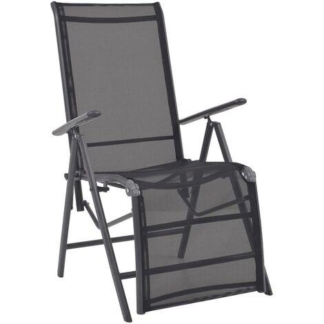 Reclining Deck Chair Aluminium and Textilene Black