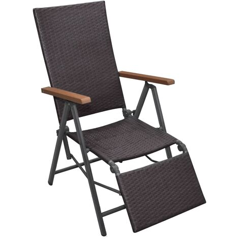 Reclining Deck Chair Poly Rattan Brown