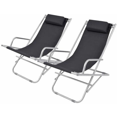 Reclining Deck Chairs 2 pcs Steel Black - Black