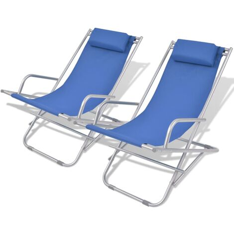 Reclining Deck Chairs 2 pcs Steel Blue - Blue
