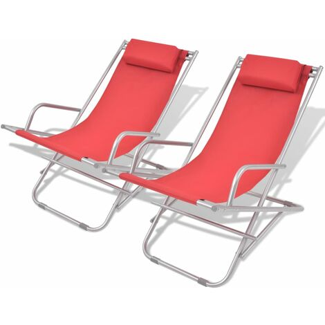 Reclining Deck Chairs 2 pcs Steel Red - Red
