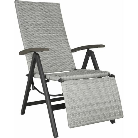 Reclining garden chair with footrest - recliner chair, garden recliner, deck chair