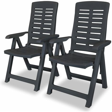 Reclining Garden Chairs 2 pcs Plastic Anthracite