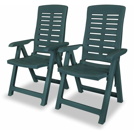 Reclining Garden Chairs 2 pcs Plastic Green - Green