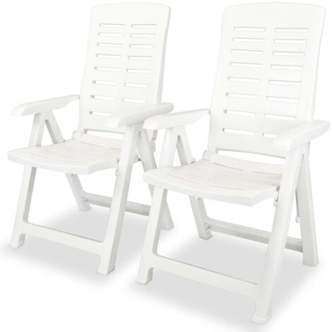 Reclining Garden Chairs 2 pcs Plastic White - White