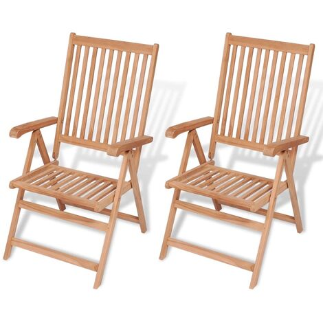 Reclining Garden Chairs 2 pcs Solid Teak Wood