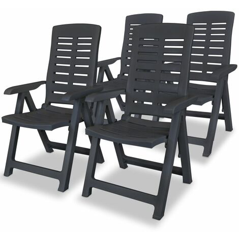 Reclining Garden Chairs 4 pcs Plastic Anthracite