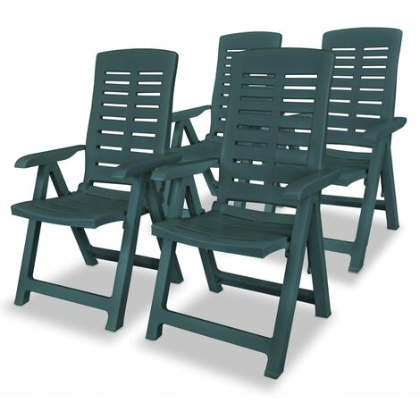 Reclining Garden Chairs 4 pcs Plastic Green - Green