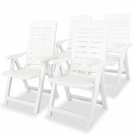 Reclining Garden Chairs 4 pcs Plastic White