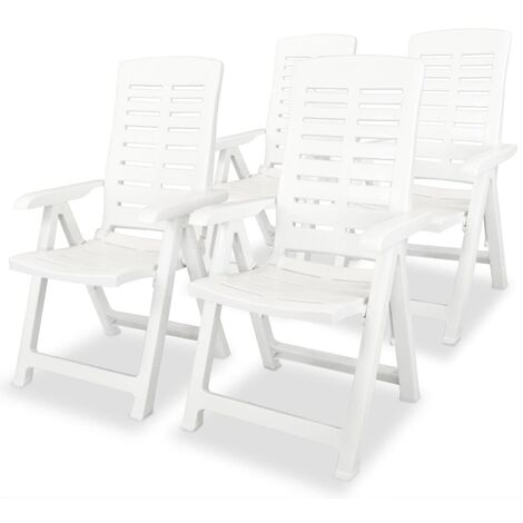 Reclining Garden Chairs 4 pcs Plastic White - White