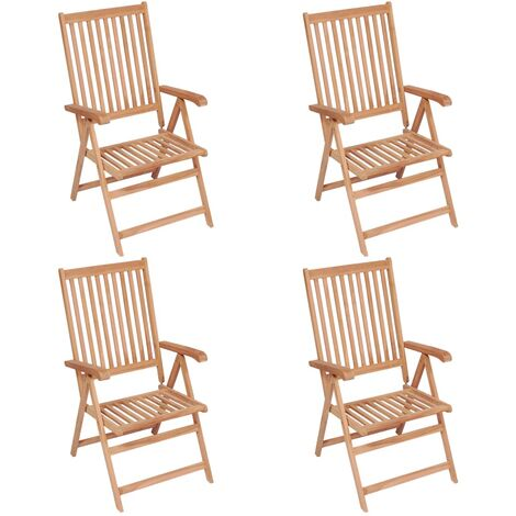 Reclining Garden Chairs 4 pcs Solid Teak Wood