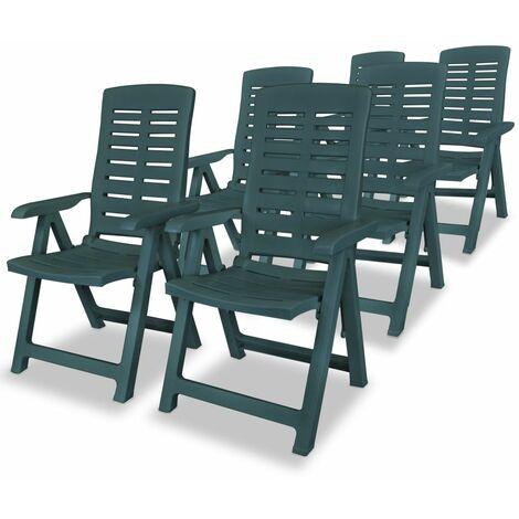 Reclining Garden Chairs 6 pcs Plastic Green