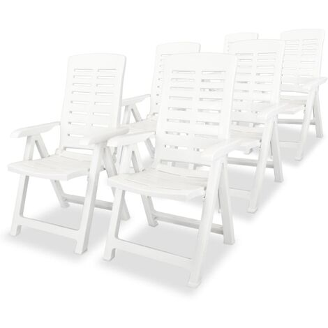 Reclining Garden Chairs 6 pcs Plastic White