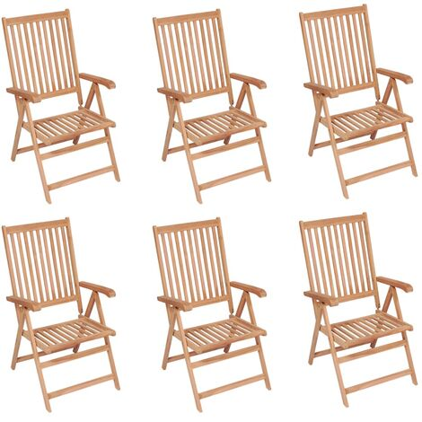 Reclining Garden Chairs 6 pcs Solid Teak Wood