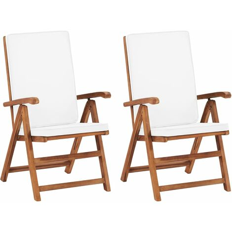 Reclining Garden Chairs with Cushions 2 pcs Solid Teak Wood Cream - Cream