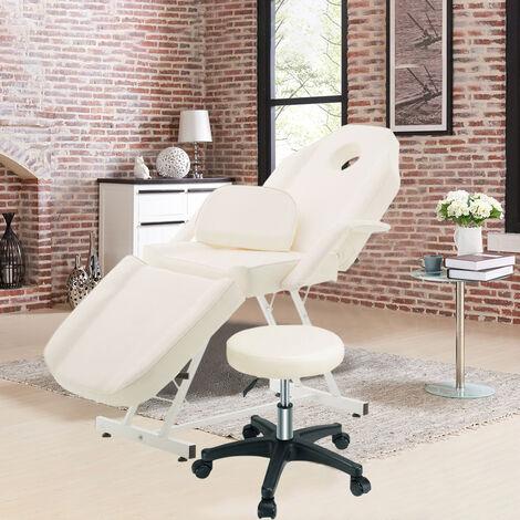 Reclining Massage Beauty Salon Bed with Stool