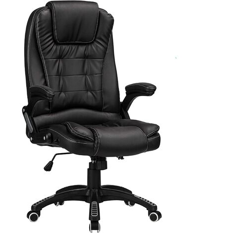 """main image of """"Reclining Office Chair with High Back and Luxury Faux Leather - Black"""""""