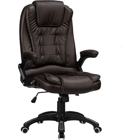 """main image of """"Reclining Office Chair with High Back and Luxury Faux Leather - Brown"""""""