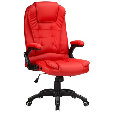 """main image of """"Reclining Office Chair with High Back and Luxury Faux Leather - Red"""""""