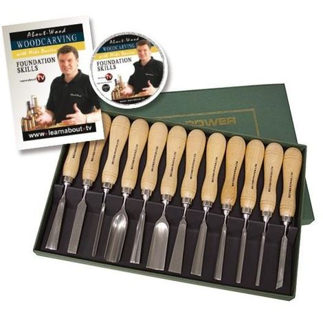 Record Power RPCV12A 12 Piece Carving Chisel Set - Booklet & DVD