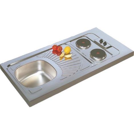 Recouvrement inox à poser sur cuisinette 1 cuve + 1 égouttoir + 2 feux électriques 100x60