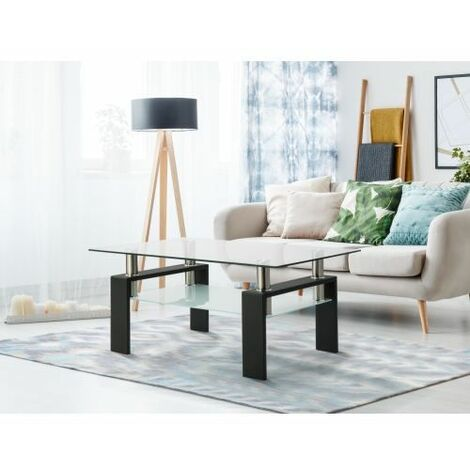 Rectangle Black Glass Coffee Table, Clear Coffee Table,Modern Side Center Tables for Living Room, Living Room Furniture