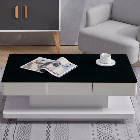 Rectangle Coffee Table With 2 Drawers Tempered Glass & Wood Modern Living Room Table