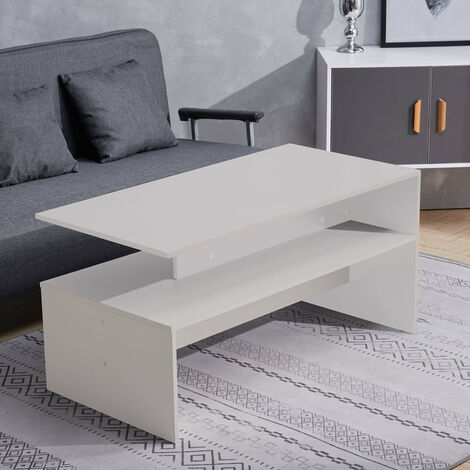 """main image of """"Rectangle Coffee Table Wood Modern Living Room Table White"""""""