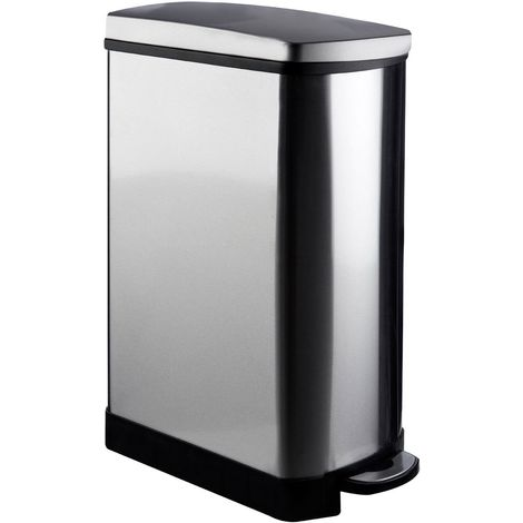Rectangle Pedal Bin, Stainless Steel / Mirror Finish, 35 Litre / Soft Close