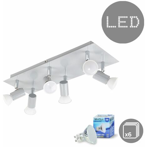Rectangular 6 Way Adjustable Ceiling Spotlight + 3W LED GU10 Light Bulbs