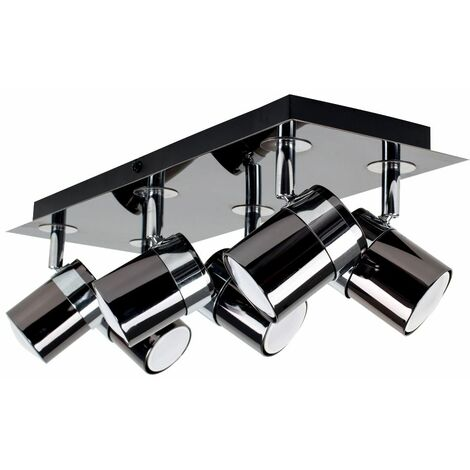 Rectangular 6 Way Adjustable Ceiling Spotlight + LED Bulbs - Black Chrome - Black