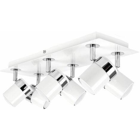 Rectangular 6 Way Chrome & White Adjustable Ceiling Spotlight + 5W LED Bulbs - Warm White - White